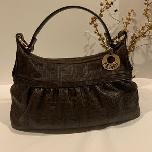 💥GORGEOUS💥FENDI Zucca dark brown leather hobo